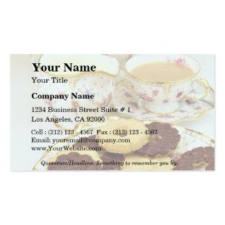 """Chá e biscoitos deliciosos com a porcelana """"fino"""" cartoes de visitas"""