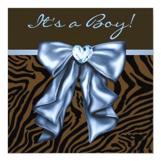 Chá elegante do bebé da zebra dos azuis bebés convite quadrado 13.35 x 13.35cm