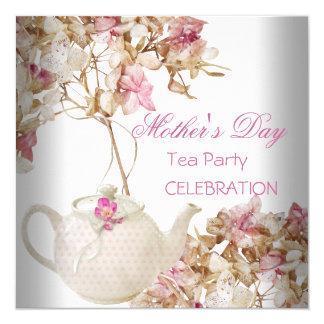 Chá floral cor-de-rosa branco do dia das mães convite quadrado 13.35 x 13.35cm