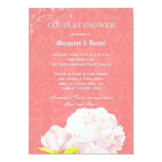 Chá floral do casal do damasco do recife de corais convite 12.7 x 17.78cm