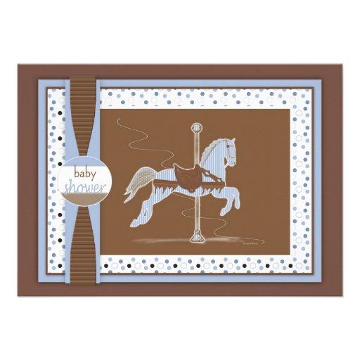 Chá Inviation do bebé do cavalo do carrossel Convites Personalizados