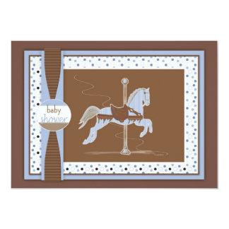 Chá Inviation do bebé do cavalo do carrossel Convite 12.7 X 17.78cm