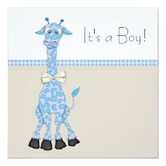 Chá irrisório azul do bebé do girafa de Brown Convite Quadrado 13.35 X 13.35cm