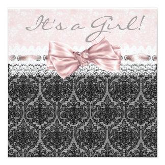 Chá preto cor-de-rosa do bebé do preto do rosa do convite quadrado 13.35 x 13.35cm