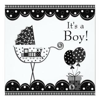 Chá preto e branco do bebé do trem convite quadrado 13.35 x 13.35cm