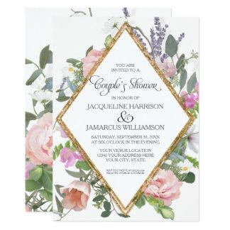 Chá romântico elegante floral dos casais do ouro convite 12.7 x 17.78cm