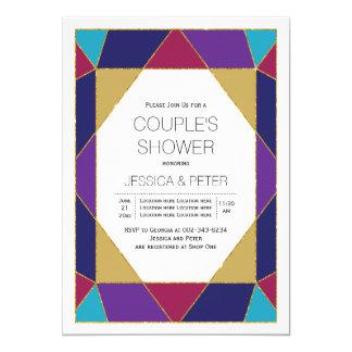 Chá roxo azul dos casais do casamento da jóia convite 12.7 x 17.78cm