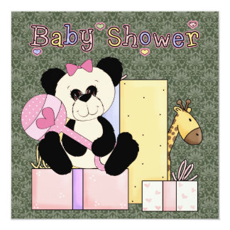 Chá verde cor-de-rosa do bebé do urso de ursinho convite quadrado 13.35 x 13.35cm