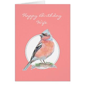 Chaffinch, esposa do feliz aniversario cartão comemorativo