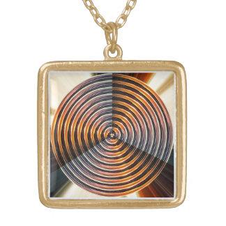 Chakra dourado: Roda da cura da energia Colar Com Pendente Quadrado