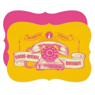 Chalaça do aniversário do Telefone-omenal Convite 12.7 X 17.78cm