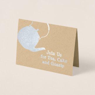 Chaleira de prata - convite temático do chá & dos