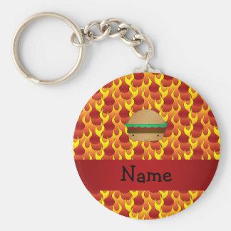 Chamas conhecidas personalizadas do Hamburger Chaveiro