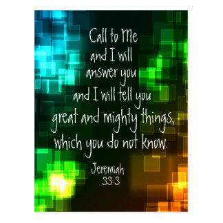Chame-me o cartão do 33:3 de Jeremiah do verso da
