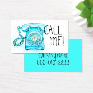 CHAME-ME turquesa azul cartão de visita giratório