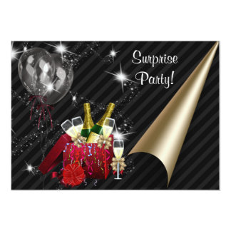 Champagne Balloons a festa de aniversário preta da Convite 12.7 X 17.78cm