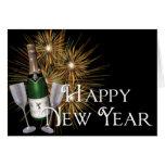Champagne & cartão do feliz ano novo dos fogos-de-