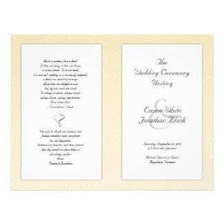 Champagne dobrou o programa cristão do casamento flyer 21.59 x 27.94cm