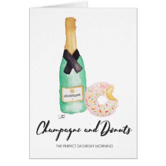 Champagne e cartão da aguarela das rosquinhas
