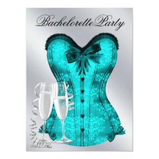 Champagne e festa de solteira azul do espartilho convites personalizados