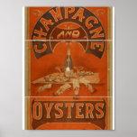 Champagne e teatro do vintage das ostras posters