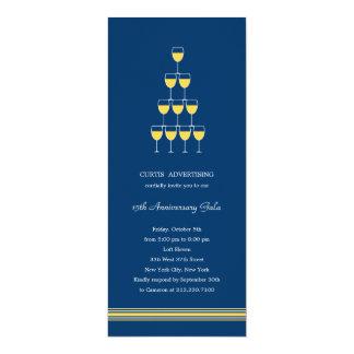 Champagne empilhado incorporado/partido do negócio convite 10.16 x 23.49cm