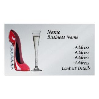 Champagne, negócio vermelho Ca dos calçados do Cartão De Visita