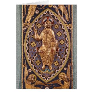 Chapa do relicário que descreve o cristo cartão comemorativo