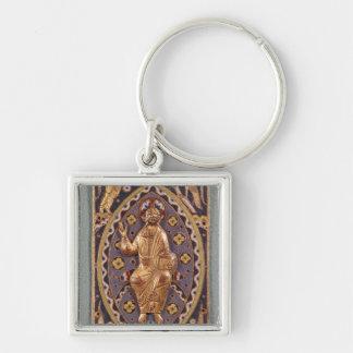 Chapa do relicário que descreve o cristo chaveiro quadrado na cor prata