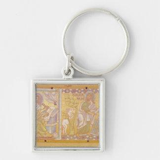 Chapa que descreve St Mark Chaveiro Quadrado Na Cor Prata