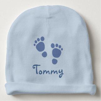 Chapéu azul da criança das pegadas gorro para bebê
