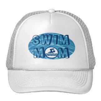 Chapéu azul da mamã da natação da água da piscina boné