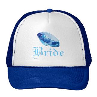Chapéu azul do diamante da noiva bones