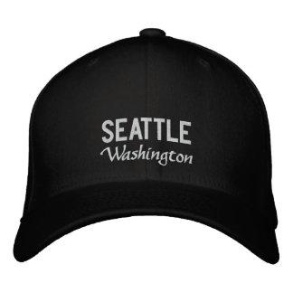 Chapéu bordado Washington preto e branco de Boné Bordado