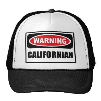 Chapéu CALIFORNIANO de advertência Boné