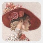 Chapéu cor-de-rosa do vintage elegante da senhora  adesivo em forma quadrada
