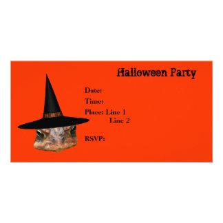 Chapéu da bruxa da cara do sapo do convite de fest cartão com foto