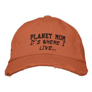Chapéu da mamã do planeta (com costura do preto) boné bordado