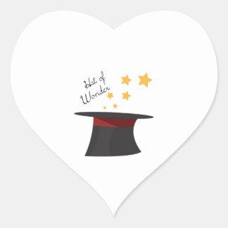 Chapéu da maravilha adesivo coração