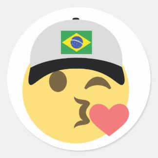 Chapéu de basebol de Brasil Emoji Adesivo Redondo