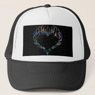 Chapéu de basebol flamejante do coração do cristal boné