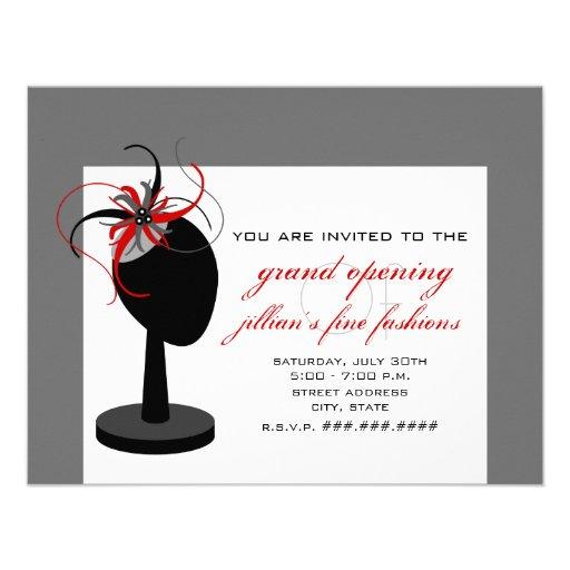 Chapéu de Fascinator - grande inauguração da loja  Convites