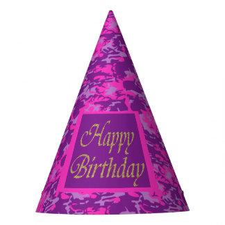 Chapéu De Festa Aniversário cor-de-rosa e roxo de Camo