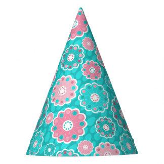 Chapéu De Festa Aqua floral bonito e feminino cor-de-rosa