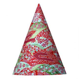 Chapéu De Festa Arte Origami floral vermelho Yuzen de Washi do