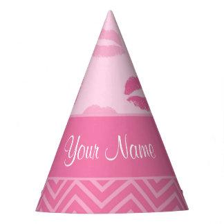 Chapéu De Festa Beijos e ziguezagues rosa e branco