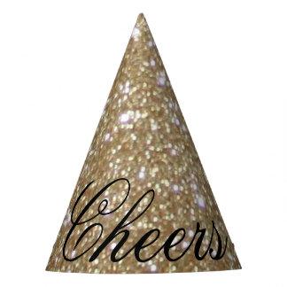 Chapéu De Festa Brilho dourado do ouro das luzes de Bokeh do Glitz