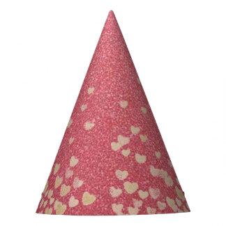 Chapéu De Festa Brilho e corações cor-de-rosa