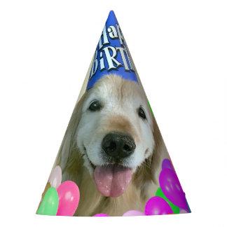 Chapéu De Festa Cão do golden retriever com aniversário dos balões
