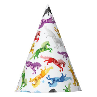 Chapéu De Festa Cavalos de salto coloridos do teste padrão